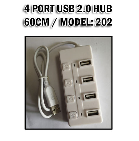 4 Port USB Hub 2.0 Hi-Speed with Switch 60CM Computer Laptop Tablet Phone Very Compatible
