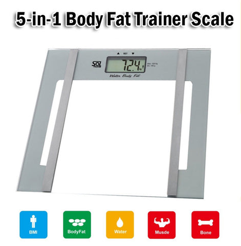 5 in 1 Digital Body Fat Trainer Scale Measure BMI Fat Water Muscle Bone Health