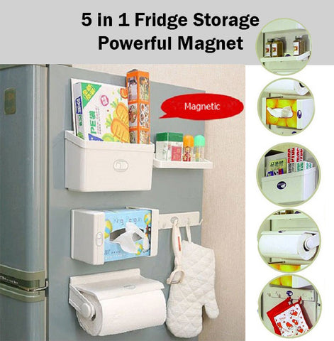 5 in 1 New Feeling Fridge Shelf Storage Set Organiser Organizer Magnetic Store