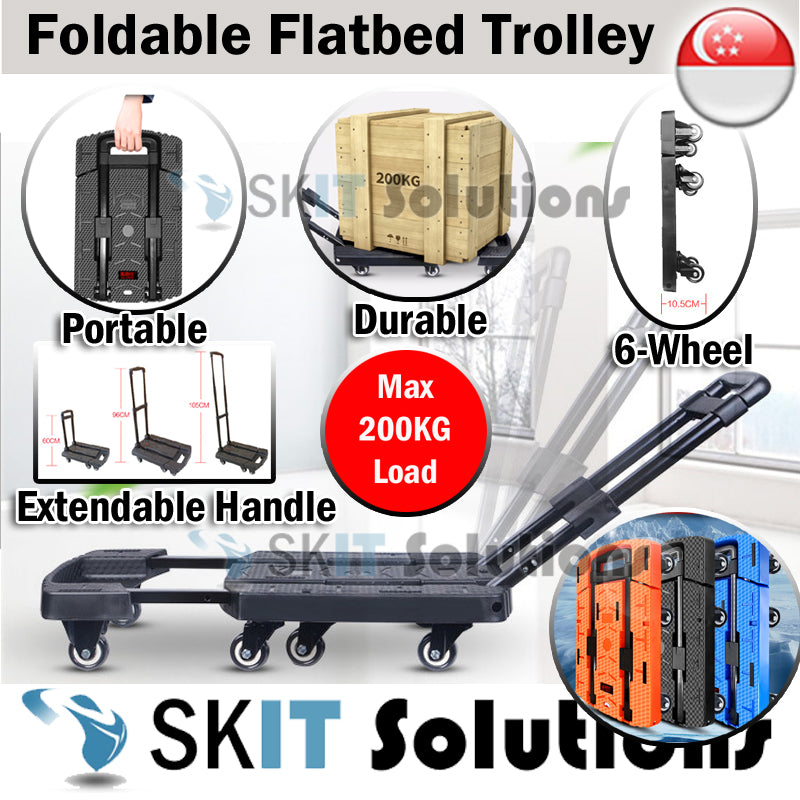 ★Foldable Hand Carry Flatbed Trolley Cart Cargo Platform Truck Trailer for Moving, Shopping★Max 200Kg★6 Wheels★