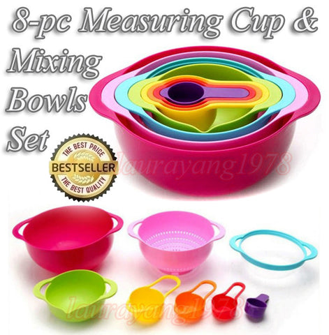 8-pc Measuring Cup and Mixing Bowls Kitchen and Bake Set