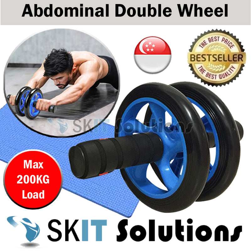 ★Double-Wheeled Abdominal Wheel AB Roller Fitness ABS Core Exercise Gym Home Equipment★