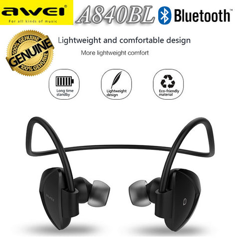 Awei A840BL Sport Bluetooth Earphone Wireless Headset for iPhone Android Smart Phone