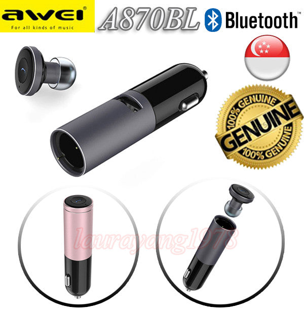 Awei A870BL 2in1 Car Charger Bluetooth Earphone Wireless Headset for iPhone Android Smart Phone