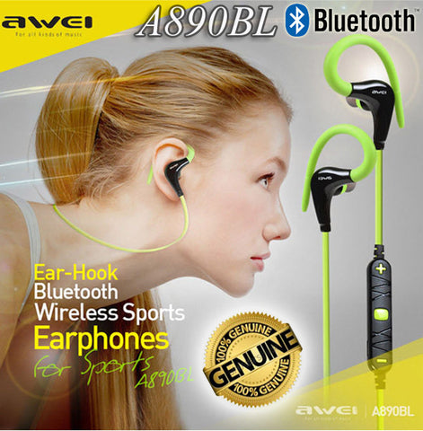 Awei A890BL Ear-Hook Sport Bluetooth Earphone Wireless Headset for iPhone Android Smart Phone