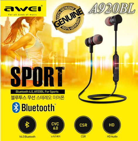 Awei A620BL Sport Bluetooth Earphone Wireless Headset for iPhone Android Smart Phone