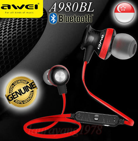 Awei A980BL Sport Bluetooth Earphone Wireless Headset for iPhone Android Smart Phone