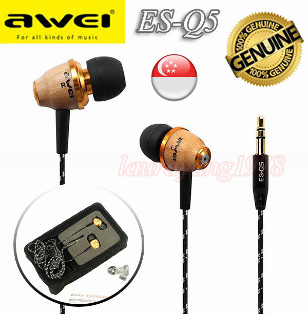 Awei ES-Q5 Wooden Headset Headphone 3.5mm Earphone with Mic