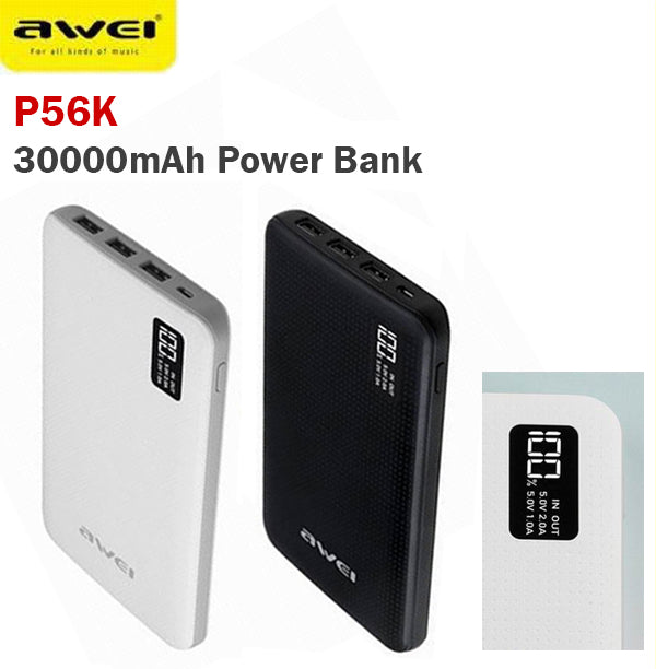 awei p56k 30000mah power bank battery 3 usb port lcd. Black Bedroom Furniture Sets. Home Design Ideas