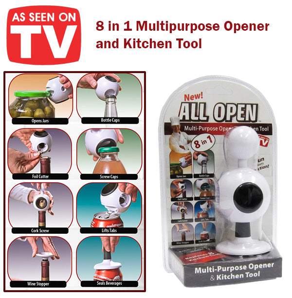 As Seen On TV All Open 8in1 Multipurpose Opener and Kitchen Tool Jar Bottle Wine