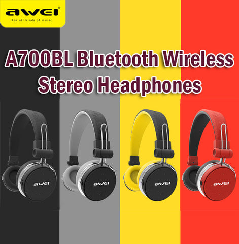 Awei A700BL Bluetooth Wireless Stereo Headphones with Cable Mic Foldable Comfort