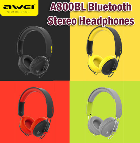 Awei A800BL Bluetooth Wireless Stereo Headphones with Cable Soft Touch Comfort