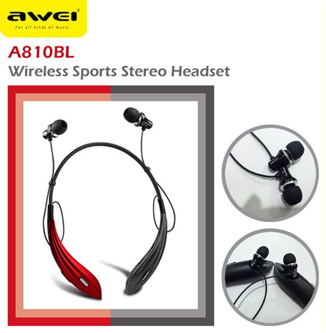 Awei A810BL Wireless Bluetooth Sports Stereo Headset Earphone IOS Android Apple