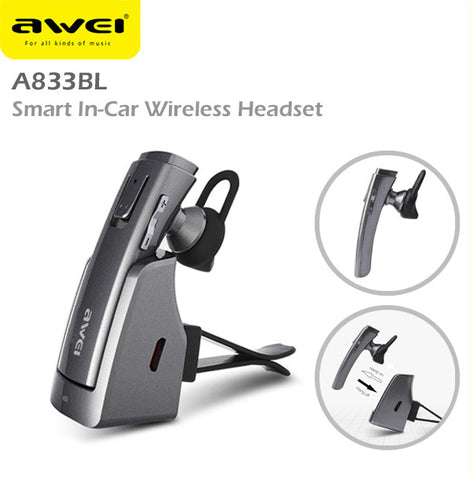 Awei A833BL Wireless Bluetooth Smart In-Car Headset Earphone IOS Android Apple
