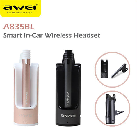Awei A835BL Smart In-Car Bluetooth Wireless Headset Headphone IOS Android Apple