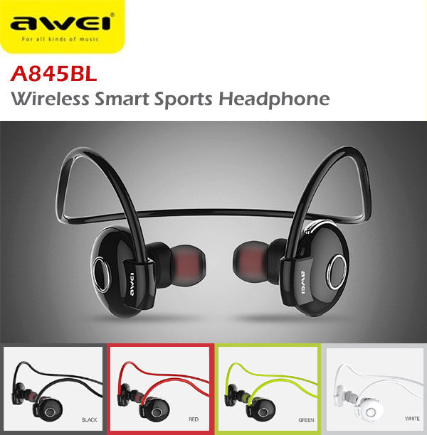 Awei A845BL Wireless Bluetooth Smart Sports Headphone Earphone IOS Android Apple