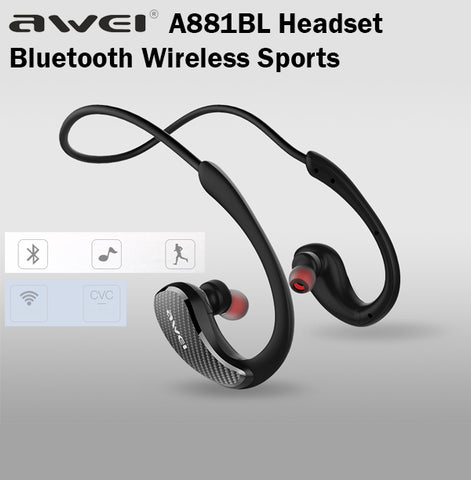 Awei A881BL Bluetooth Wireless Sports Headset NFC Waterproof Exercise Earpiece