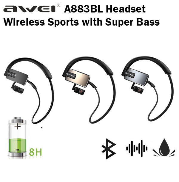 Awei A883BL Bluetooth Wireless Sports Headset NFC Waterproof Exercise Earpiece