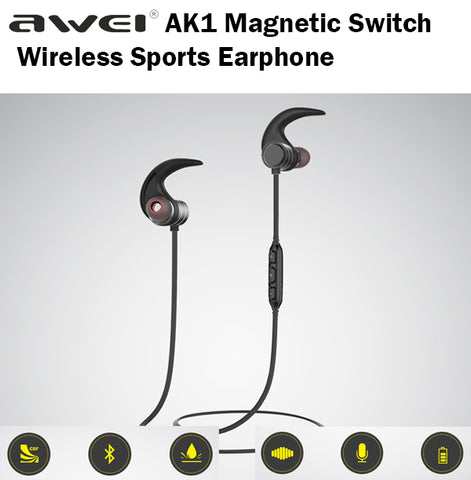 Awei AK1 Bluetooth Magnetic Switch Wireless Sports Earphone Earpiece Sport Music