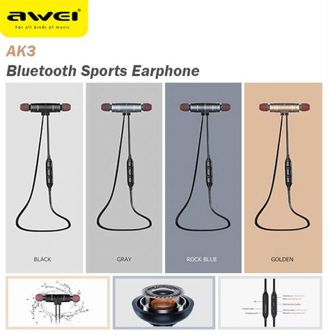 Awei AK3 Magnetic Switch Bluetooth Wireless Sports Earphone Earpiece Android IOS