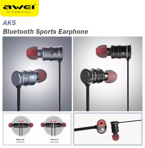 Awei AK5 Magnetic Switch Bluetooth Wireless Sports Earphone Earpiece Android IOS