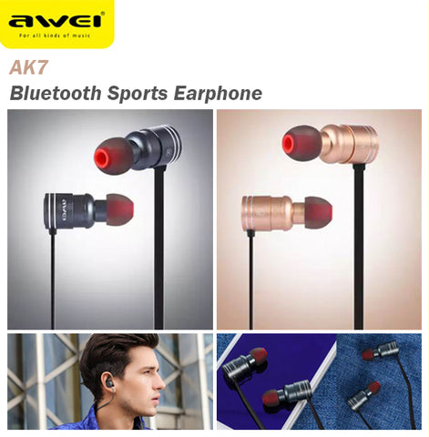 Awei AK7 Magnetic Switch Bluetooth Wireless Sports Earphone Earpiece Android IOS
