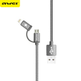 Awei CL-930 1m 2 in 1 Data Fast Charging Cable 2in1 Charger IOS Android Apple