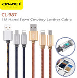 Awei CL-987 1000mm 2 in 1 USB 2in1 Data Charging Cable Charger IOS Android Apple