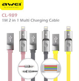 Awei CL-989 1000mm 2 in 1 USB 2in1 Data Charging Cable Charger IOS Android Apple