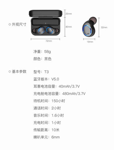 b97a3af1482 ... Awei T3 True Wireless Earbuds with Charging Case Box Sports Bluetooth  Earpiece ...