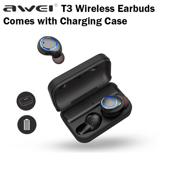 Awei T3 True Wireless Earbuds with Charging Case Box Sports Bluetooth Earpiece