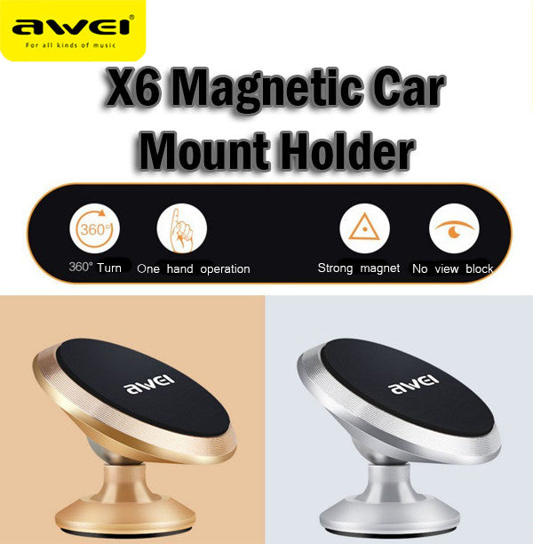 Awei X6 Magnetic Car Mount Holder 360 Degrees Rotatable Magnet Handphone Holder