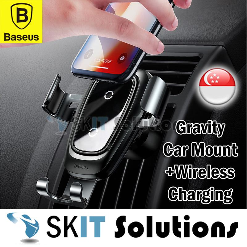 Baseus Metal Wireless Charger Gravity Car Mount Phone Holder