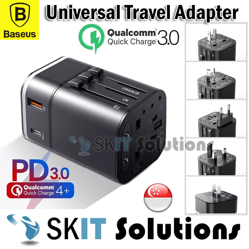BASEUS PD QC3.0 2in1 Universal Travel Adapter Wall Charger Type-C+USB Port 18W
