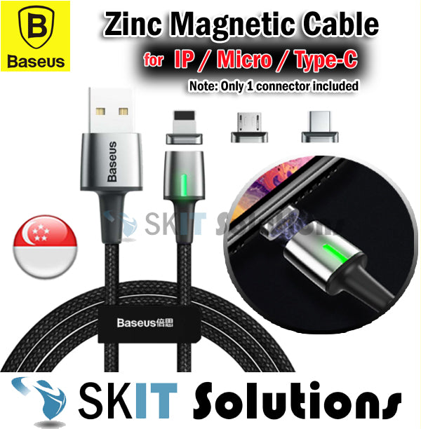 Baseus Zinc Magnetic USB Data Cable 1 Meter★Type-C/Micro/Lightning★