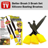 Better Brush Silicone Basting 3 Brushes Set Grilling Barbeque Barbecue Pastry