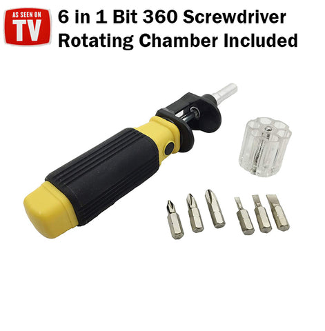 As Seen On TV Bit 360 6 in 1 Screwdriver Rotating Chamber DIY Tool Tools Screw