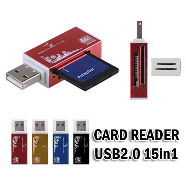 Memory Card Reader USB 2.0 15in1 High Speed Universal Serial Bus