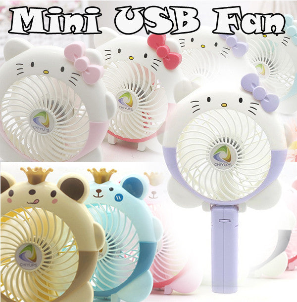 Cute Portable Mini USB Fan Handfan with Rechargeable Li-ion Battery