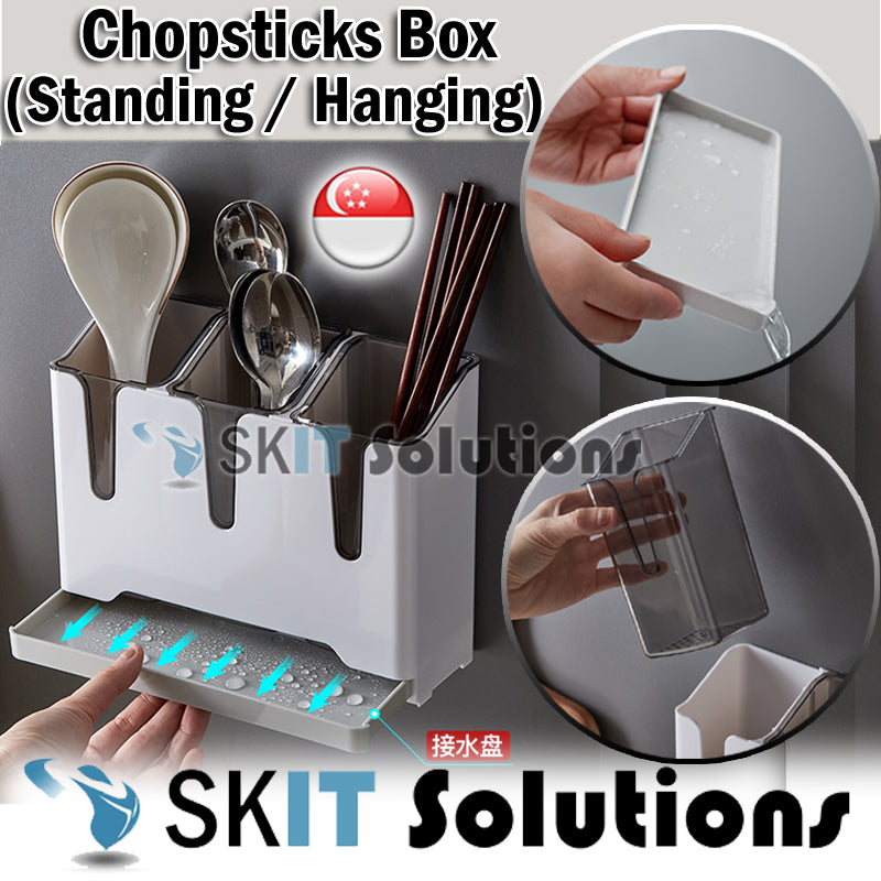 Kitchen Cutlery Organizer Chopstick Box Holder Stand Utensil Storage Drainer Container Wall Rack