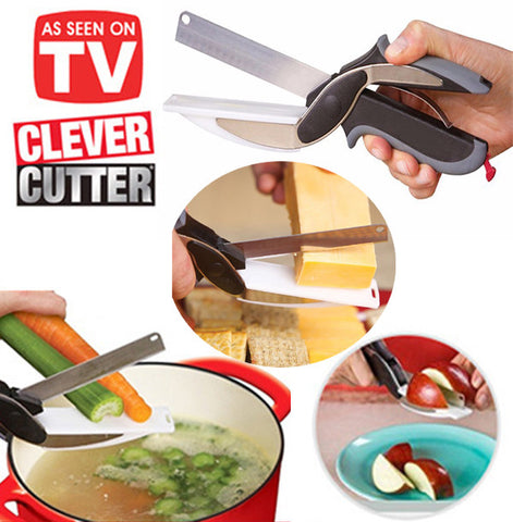 2in1 Clever Cutter Knife Scissors and Cutting Board