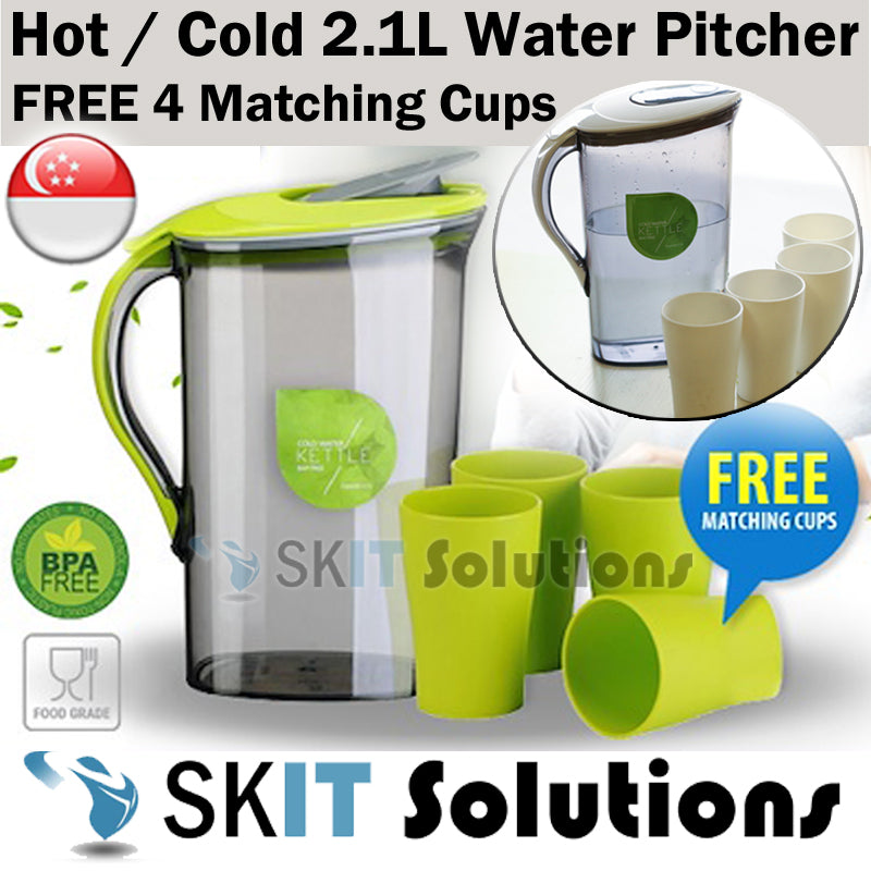 ★BPA FREE★2.1L Hot Cold Water Pitcher Jug Flask★Free 4 Drinking Cups★Lip with Safety Clip★