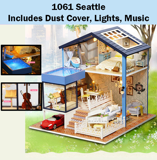 Cuteroom Seattle Miniature Doll House Dollhouse Diy Gift Wooden
