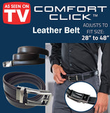 "As Seen On TV Comfort Click Leather Belt Accessories Buckle Perfect Fit 28"" 48"""