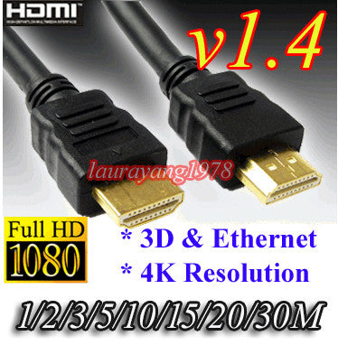 Black V1.4 Gold HDMI Cable for HDTV TV Starhub Mio Digital Box