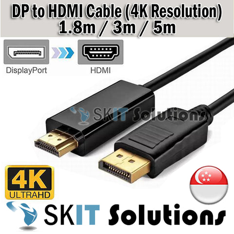 1.8M / 3M / 5M DP Display Port Displayport to HDMI Male Cable 4K*2K Adapter Resolution TV Projector Monitor PC Laptop