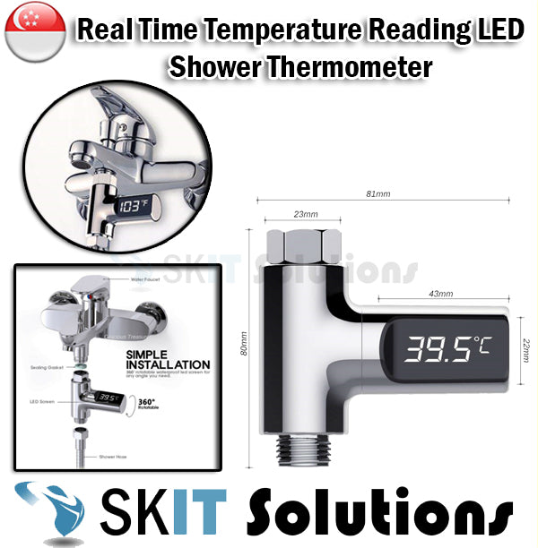MA2622 Digital Shower Thermometer LED Display of Real-time Temperature Read Bath