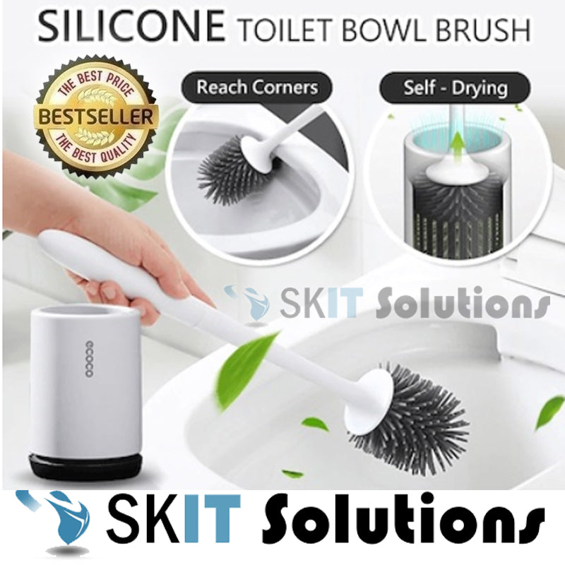★Ecoco TPR Rubber Bathroom Toilet Bowl Brush Cleaner+Holder★Thermo Plastic★2 Styles★Standing/Hanging★