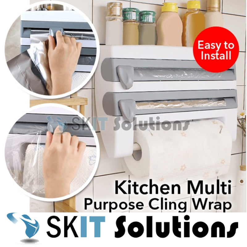 ★Kitchen Film Cling Wrap Holder Dispenser Cutter★Hanging Towel Paper Rod★Nail Free★