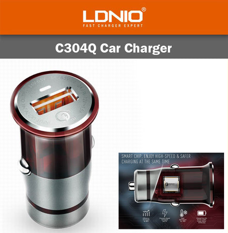 LDNIO C304Q Car Charger Micro Lightning USB Cable IOS Android Fast Speed Charge
